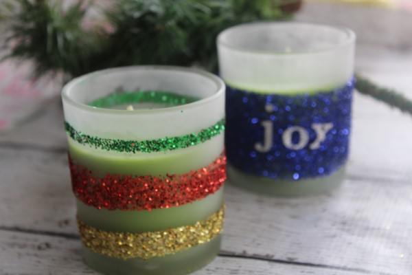 Christmas Glitter Candles DIY